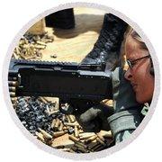 A Soldier Fires An M240b Medium Machine Round Beach Towel