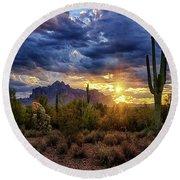 A Sonoran Desert Sunrise - Square Round Beach Towel