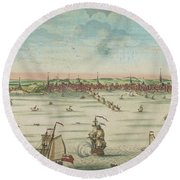 A South East View Of The Great Town Of Boston In New England In America, 1730 Round Beach Towel