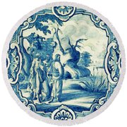A South-german Faience Stove Tile Second Half 18th Century, By Adam Asar, No 18a Round Beach Towel