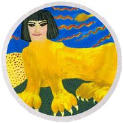 A Sphinx Round Beach Towel