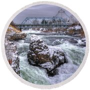 A Spokane Falls Winter Round Beach Towel