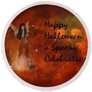 A Spooky, Space Halloween Card Round Beach Towel