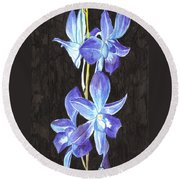 A Spray Of Orchids Round Beach Towel