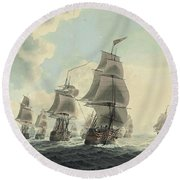 A Squadron Of The Royal Navy Running Down The Channel And An East Indiaman Preparing To Sail Round Beach Towel