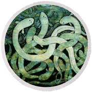 A Squirm Of Eels At The Bottom Of The Pond Round Beach Towel