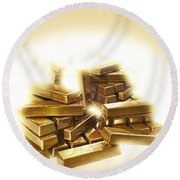 A Stack Of Gold Bullion  Round Beach Towel
