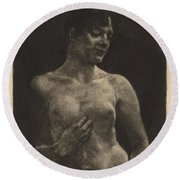 A Standing Nude Round Beach Towel