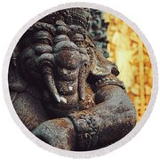 A Statue Of A Intricately Designed Holy Hindu Elephant Ganesha In A Sacred Temple In Bali, Indonesia Round Beach Towel