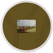 A Steeplechase - Taking A Hedge And Ditch Henry Thomas Alken Round Beach Towel