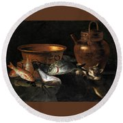 A Still Life Of Fish With Copper Pans And A Cat  Round Beach Towel