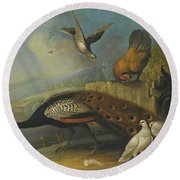 A Still Life With A Peacock, Pigeons And Chickens In A River Landscape Round Beach Towel