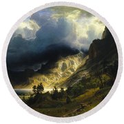 A Storm In The Rocky Mountains Mt. Rosalie, 1866 Round Beach Towel