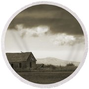 A Storm Looms Round Beach Towel