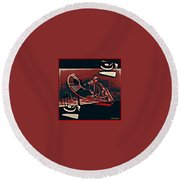 A Storm Of Turntables Round Beach Towel