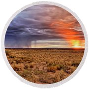 A Stormy New Mexico Sunset - Storm - Landscape Round Beach Towel