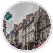 A Street In Boulogne Round Beach Towel