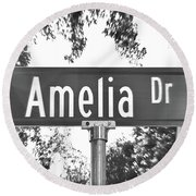 Am - A Street Sign Named Amelia Round Beach Towel