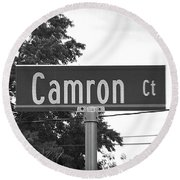 Ca - A Street Sign Named Camron Round Beach Towel