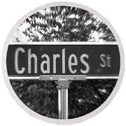 Ch - A Street Sign Named Charles Round Beach Towel