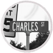 Ch - A Street Sign Named Charles Speed Limit 35 Round Beach Towel