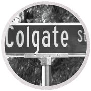Co - A Street Sign Named Colgate Round Beach Towel