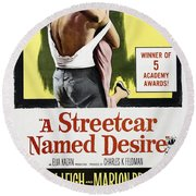 A Streetcar Named Desire Portrait Poster Round Beach Towel