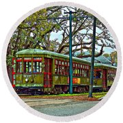 A Streetcar Named St. Charles Round Beach Towel