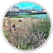 A Stroll At The Seaside  Round Beach Towel