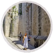 A Stroll By The Cathedral Round Beach Towel