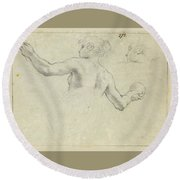 A Study For A Female Allegorical Figure And A Separate Study For Her Head Round Beach Towel