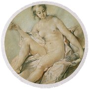 A Study Of Venus Round Beach Towel by Francois Boucher