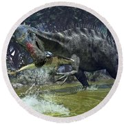 A Suchomimus Snags A Shark From A Lush Round Beach Towel