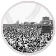 A Summer Day At Coney Island Round Beach Towel