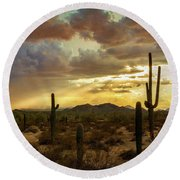 A Summer Evening In The Sonoran  Round Beach Towel