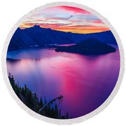 Crater Lake Sunset, Oregon Round Beach Towel