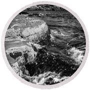 A Summer's Day At Nubble Light, York, Maine  -67969-bw Round Beach Towel