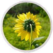 A Sunflower's Backside Round Beach Towel