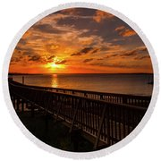 A Sunset At Spanish Wells Round Beach Towel