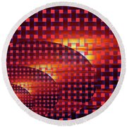 A Sunset In Weave Round Beach Towel