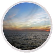 A Sunset On The Last Day At Sea Round Beach Towel