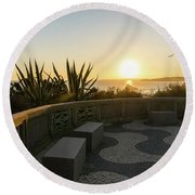 A Sunset Relaxation Zone - Round Beach Towel