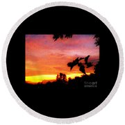 A Sunset With A Different Mood Round Beach Towel