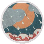 A Sunshine  Rain - Shower Round Beach Towel