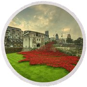 A Sweep Of Poppies  Round Beach Towel