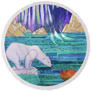 A Tale Of Light And Ice Round Beach Towel