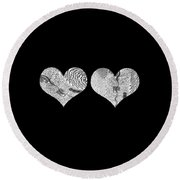 A Tale Of Two Hearts Round Beach Towel