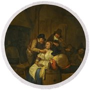 A Tavern Interior With Two Peasants Making Advances On A Maid With Figures Making Music Beyond Round Beach Towel
