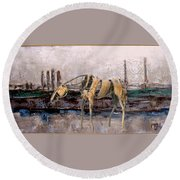 A Thirsty Horse 1 Round Beach Towel