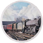 A 'thompson' B1 Class Moving Empty Stock On A Cold February Morning Round Beach Towel by David Nolan